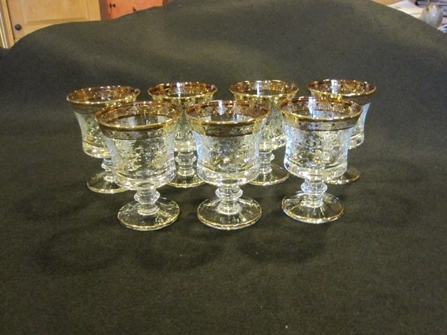 1B: Vintage Murano Medici 24K Gold Crystal / Cordials