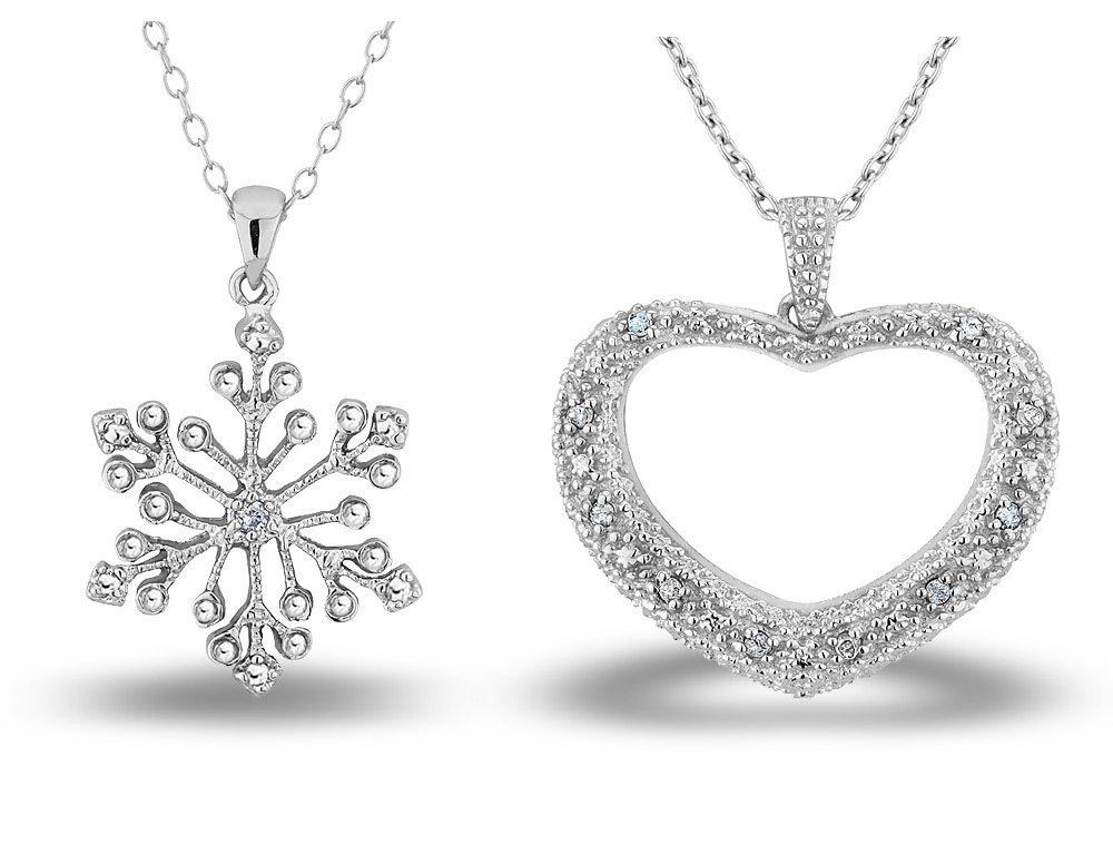 1: Snowflake w/Diamond Accent OR Heart Diamond Pendant