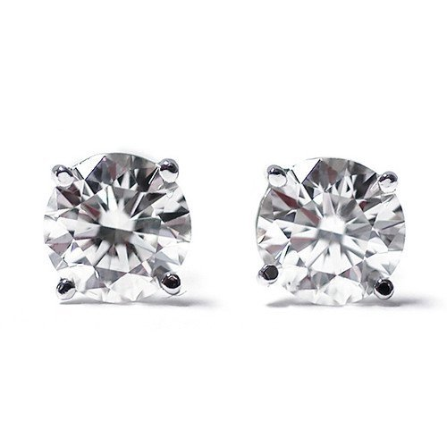 2: 1/4 Ct Round Cut 14K White Gold Diamond Stud Earring