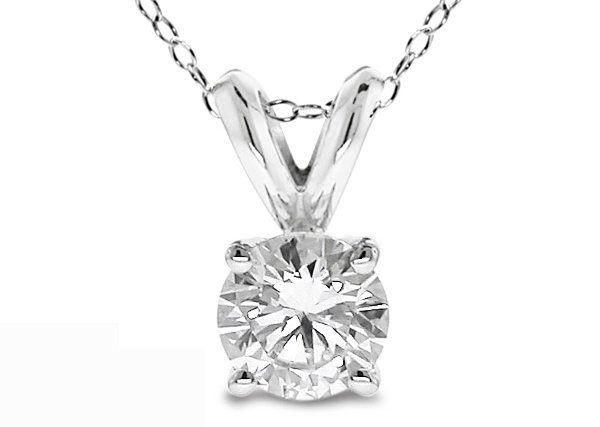 0.20 Ct Round Cut 14K White Gold Diamond Pendant wit