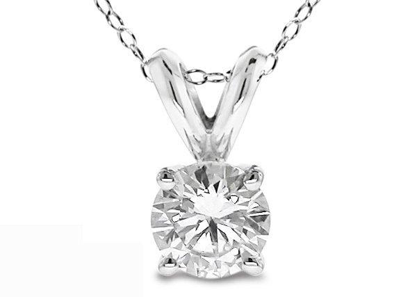 3: 0.20 Ct Round Cut 14K White Gold Diamond Pendant wit