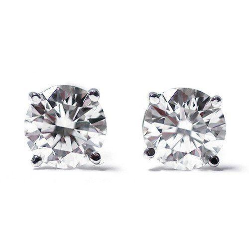 6: 0.50 Ct Round Cut 14K White Gold Diamond Stud Earrin