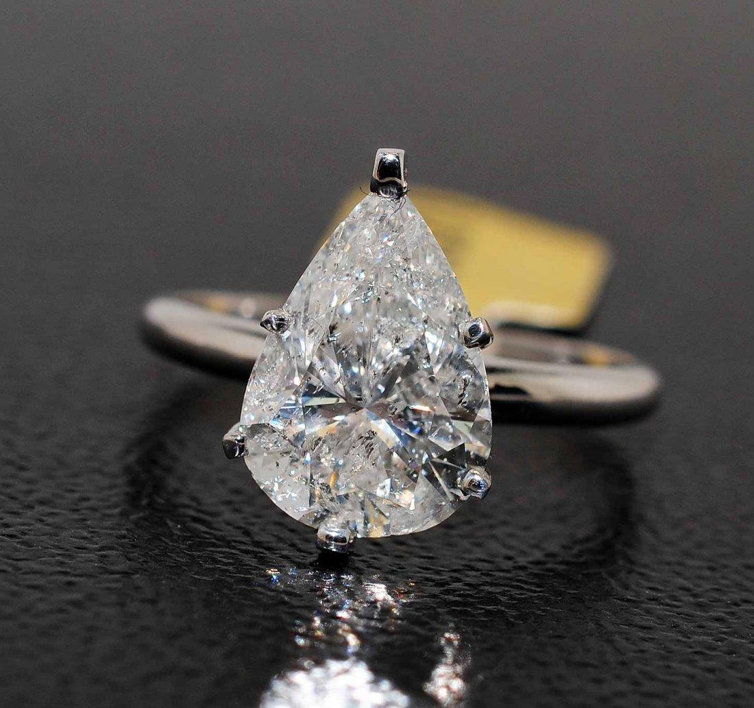 """3.58ct Pear Brilliant """"F"""" Diamond Solitaire Gold Ring"""