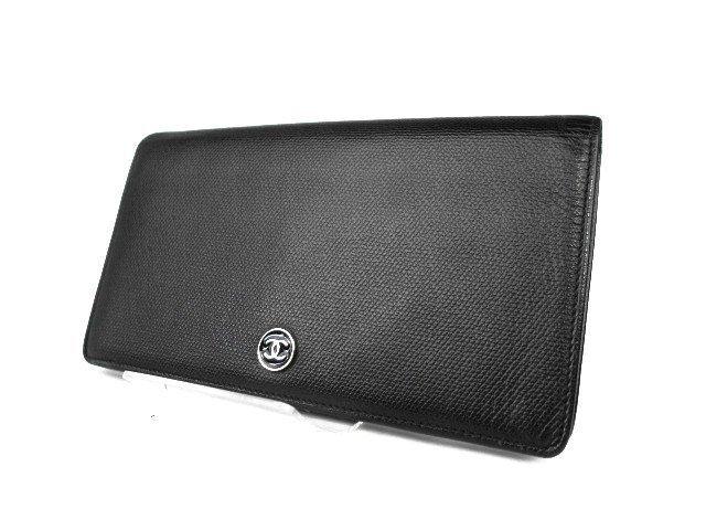 1BC: Authentic CHANEL Black CC Mark Logo Calf Leather L