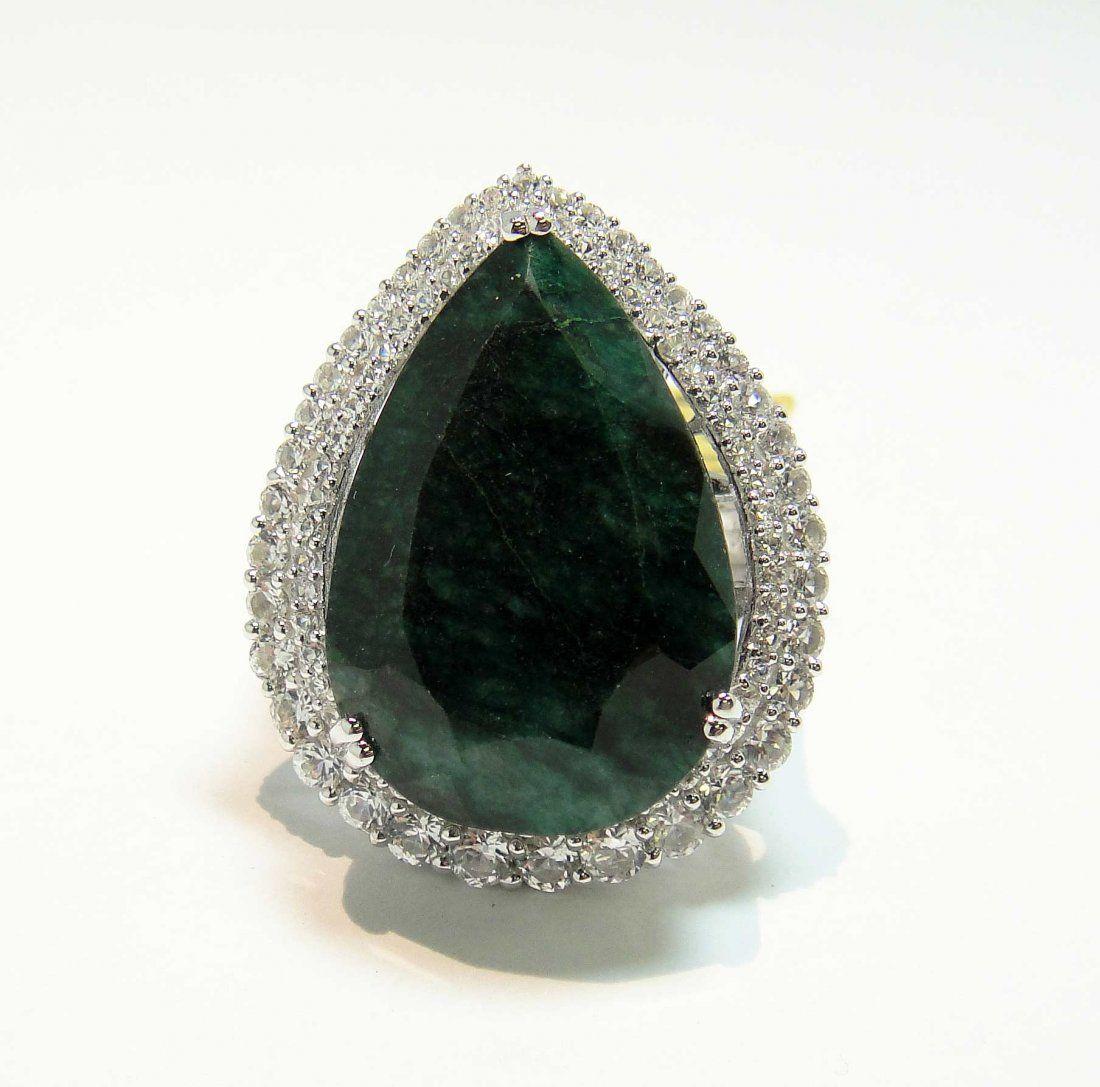 29.02ctw Emerald Beryl & CL Sapphire 925 Silver Ring