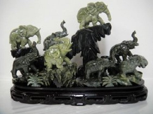 5C Large Chinese Jade Elephant Landscape Sculpture