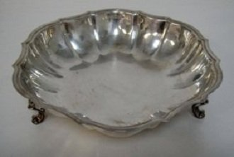 Decorative Silver Plated Three legged Bowl 10 x 25