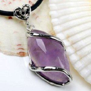 Natural Amethyst Necklace Pendant Horse Eye Bead Vi