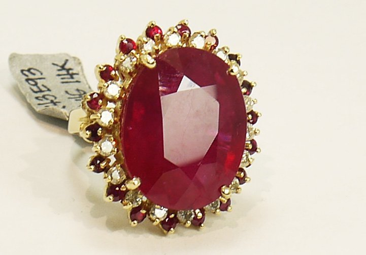 34.40ctw. Ruby, 1.13ctw. Diamond Ring