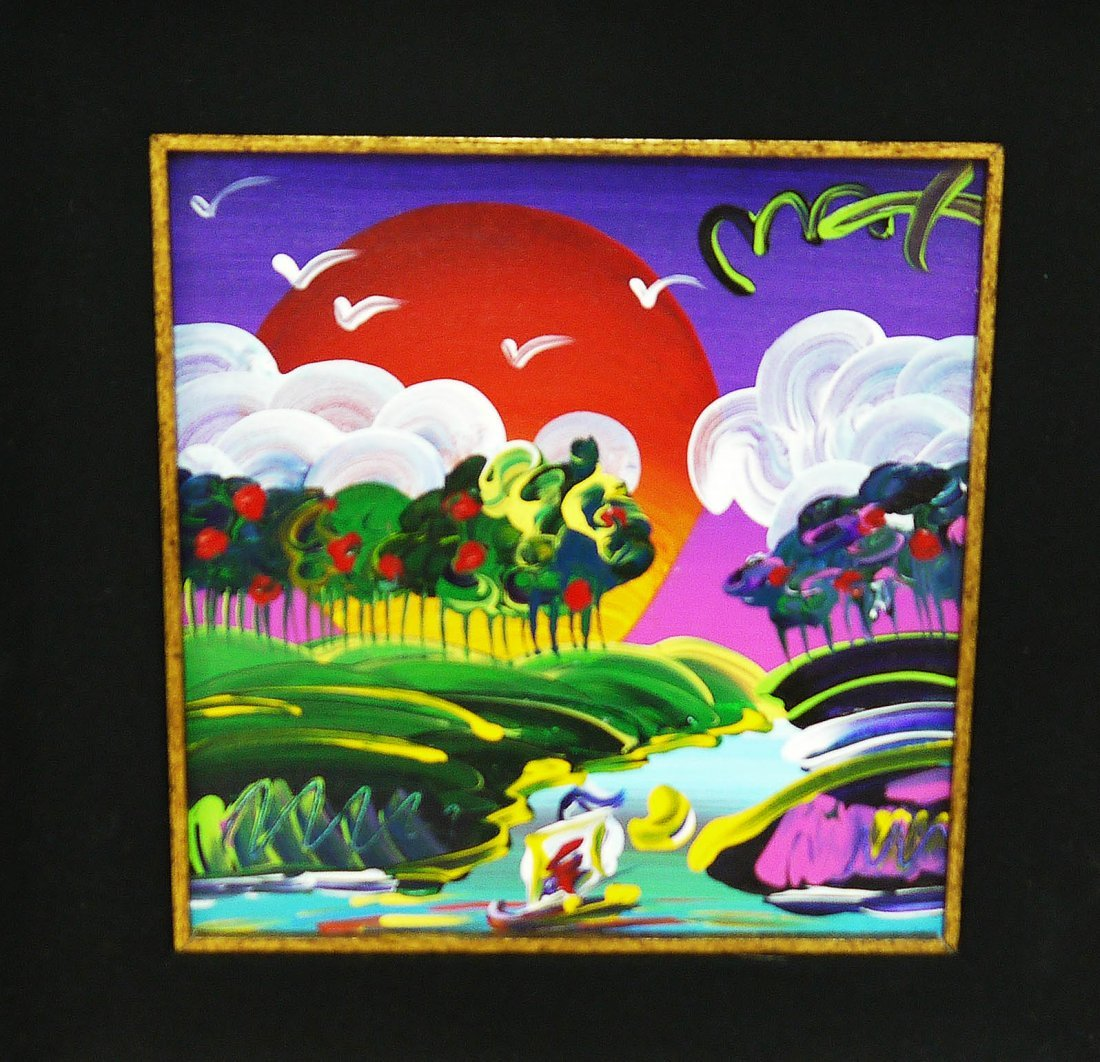 """Genuine Peter Max """"Without Borders"""" Acrylic Canvas"""