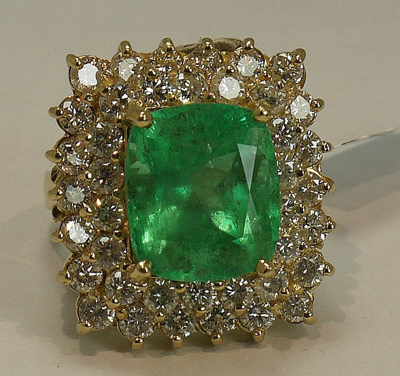 9.23ct Emerald, 3.49ctw Diamonds 14k Gold Ring