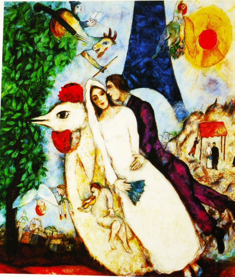 """Marc Chagall """"Bride & Groom of the Eiffel Tower"""" Giclee"""