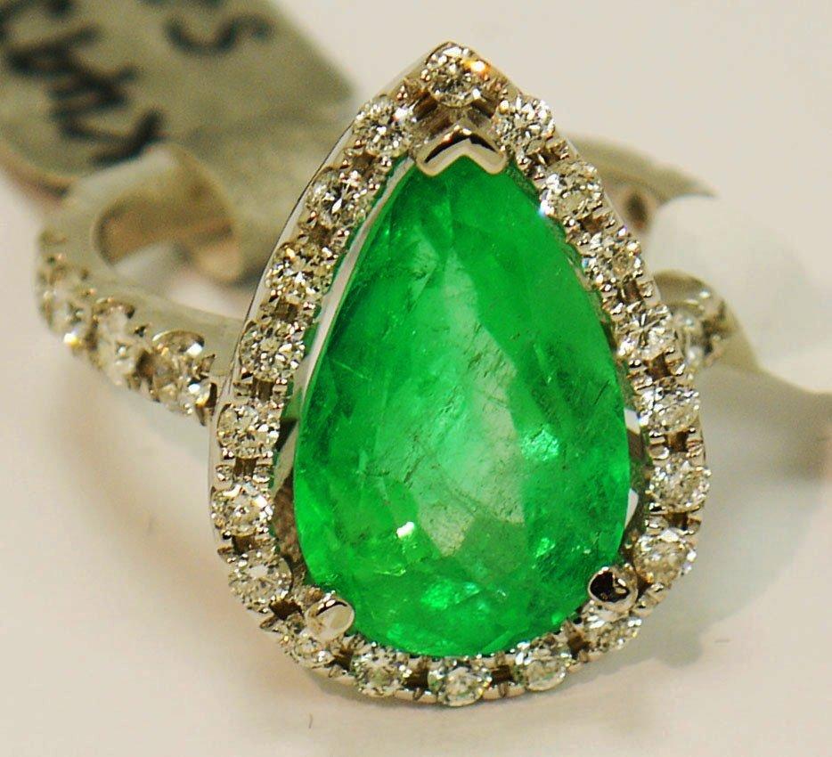 6.21ct Emerald/0.75ct Diamonds in 14K White Gold Ring