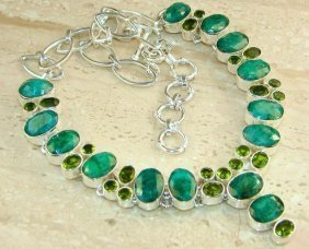EMERALD,GREEN TOPAZ, necklace plated with genuine SILVE