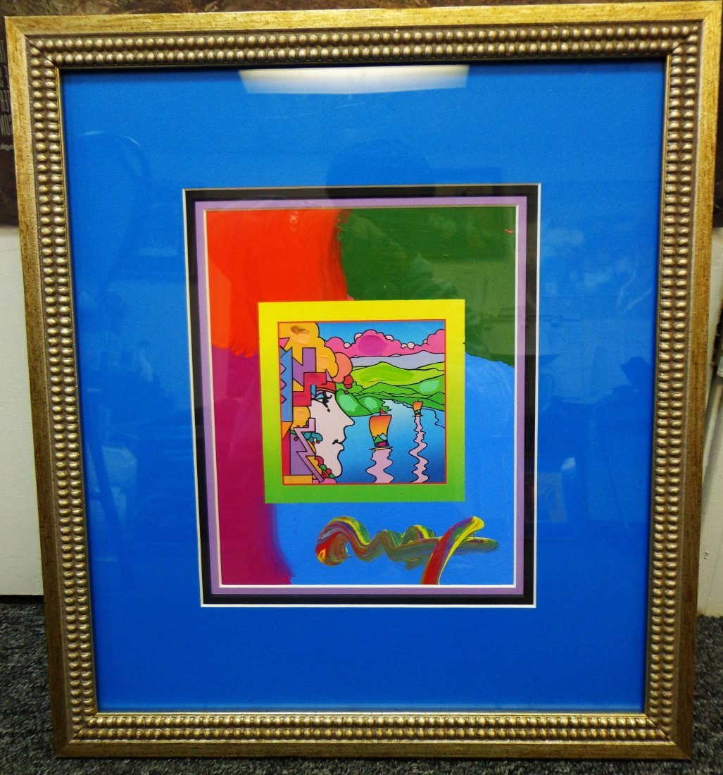 """Peter Max """"Geometric Profile and Sailboats on Blends"""""""