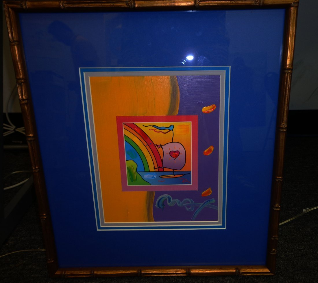 """Peter Max """"Sailboat with heart on Blends"""""""