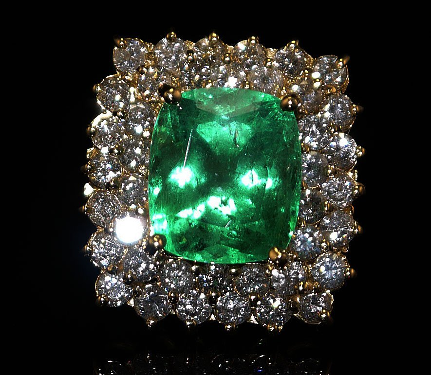 9.23ct Emerald, 3.49ctw Diamonds 14k Gold Ring