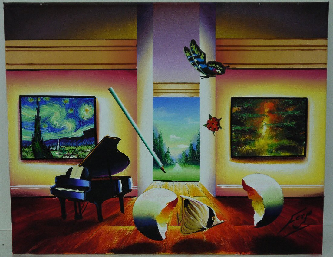 """Ferjo """"Surreal Visions"""" Oil on Canvas"""