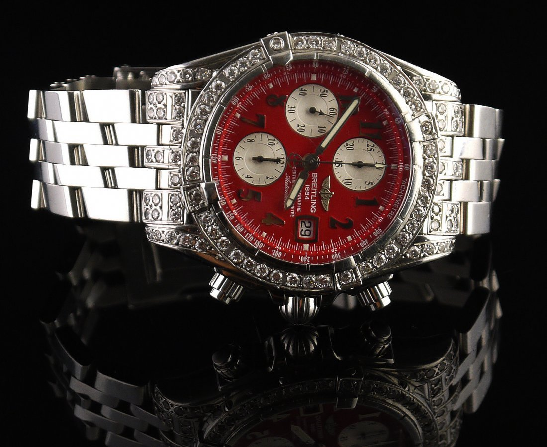 3.40 ct Diamond Breitling Chronomat Evolution Watch