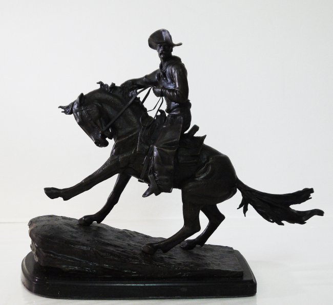 98C The Cowboy Solid Bronze Statue by Frederic Remi