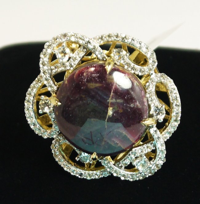 56.18 ct. Ruby 3.00 ctw White Sapphire Ring