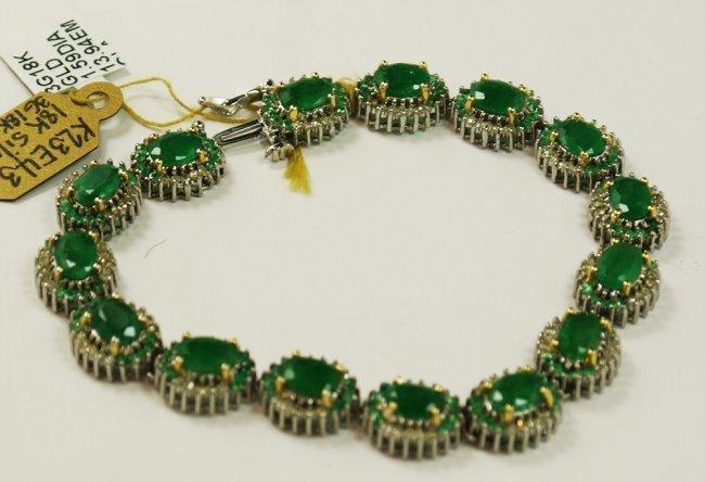 13.94 ctw Emerald Diamond Bracelet