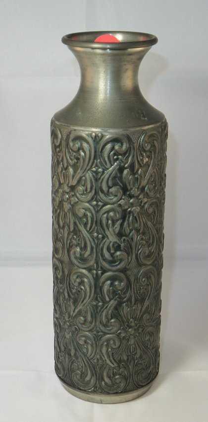Vintage Kalmar Pewter Norway Metal Embossed Vase Urn St