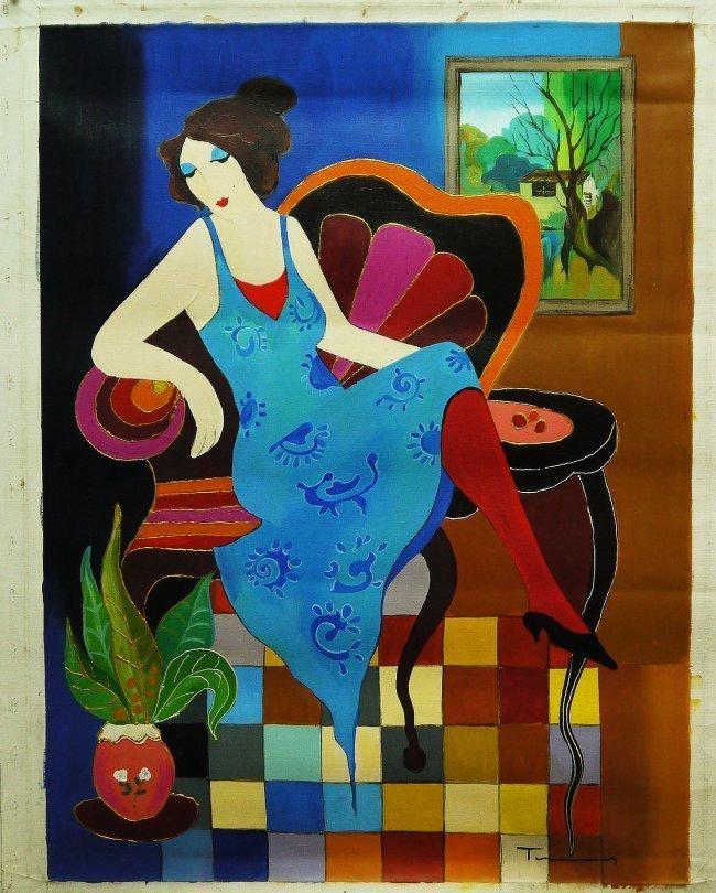 "Original Tarkay Acrylic  ""Reclining Woman"""
