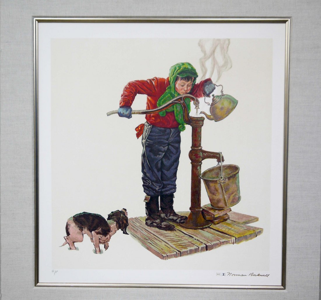 """Norman Rockwell """"Winter Morning"""" Lithograph"""