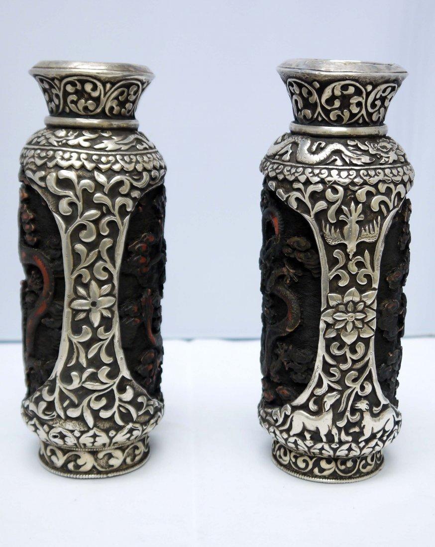 Chinese Cinnabar Vases (Pair)