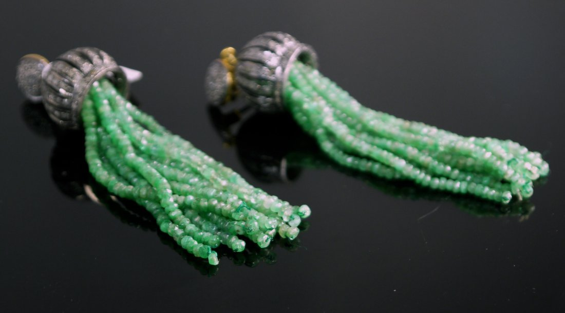 Silver and Gold Ladies Earrings with 51.50ct of Emerald