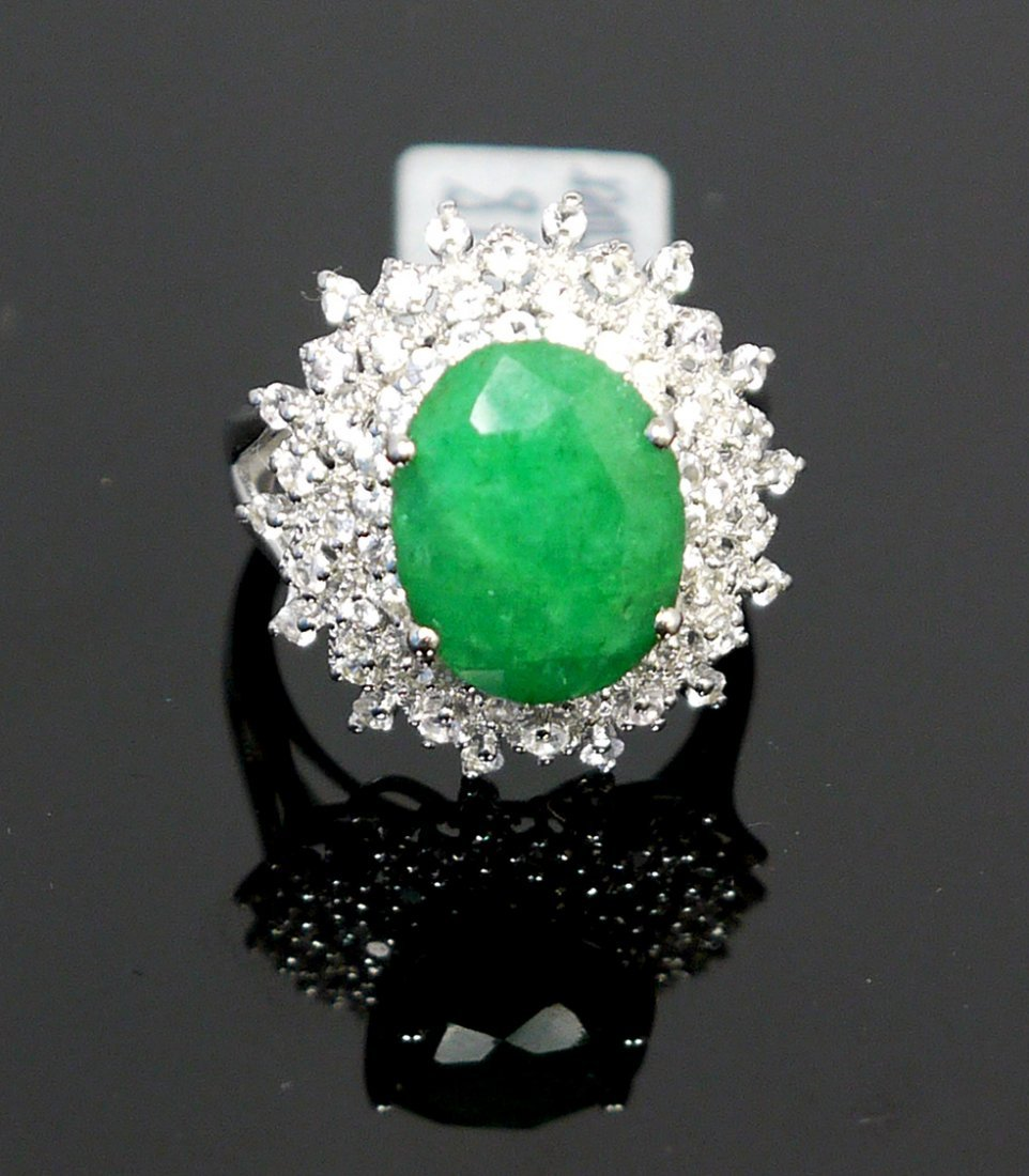 6.12ct Green Beryl 1.26ct White Sapp 925 Silver Ring