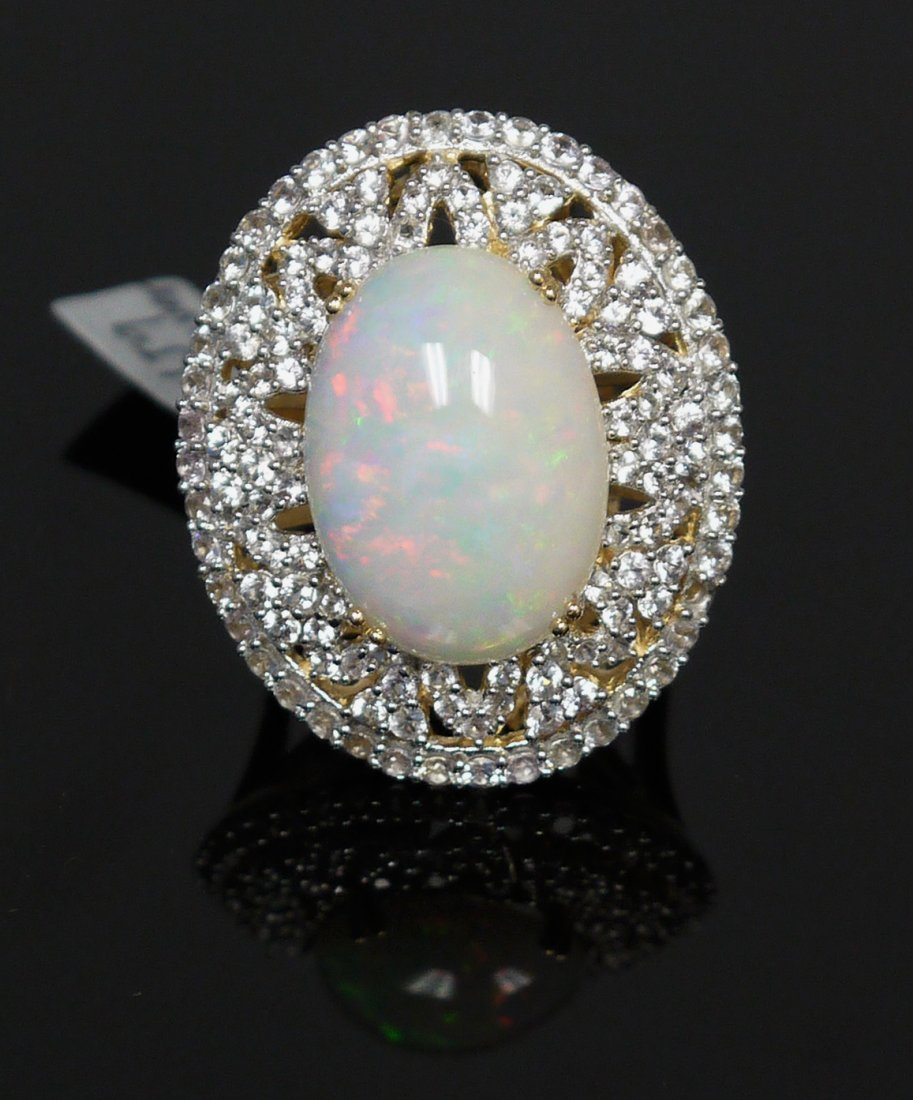 8.23ct Opal 3.37ct White Sapphire 925 Silver Ring