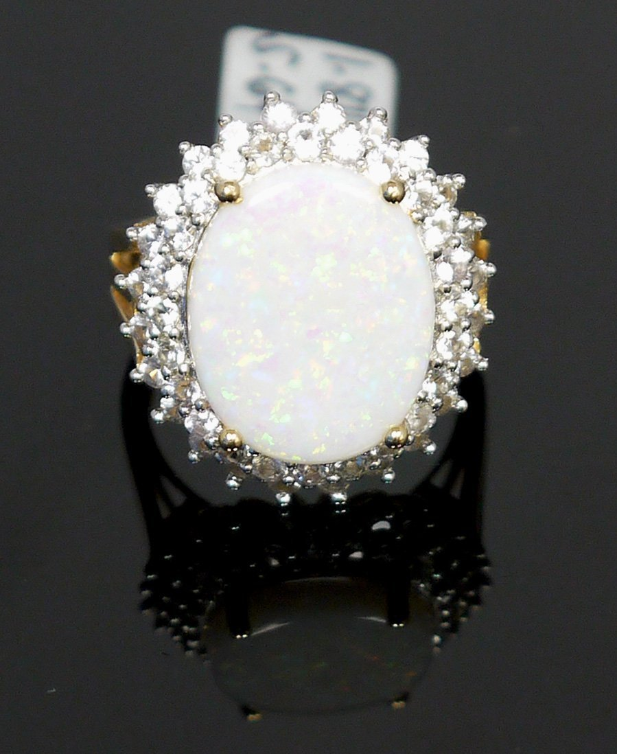 5.64ct Opal 1.84ct White Sapphire 925 Silver Ring