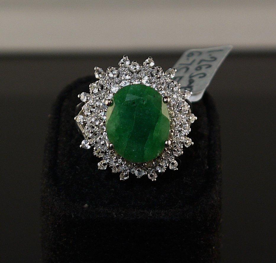 6.75ct Green Beryl 1.26ct White Sapphire 925 SilverRing