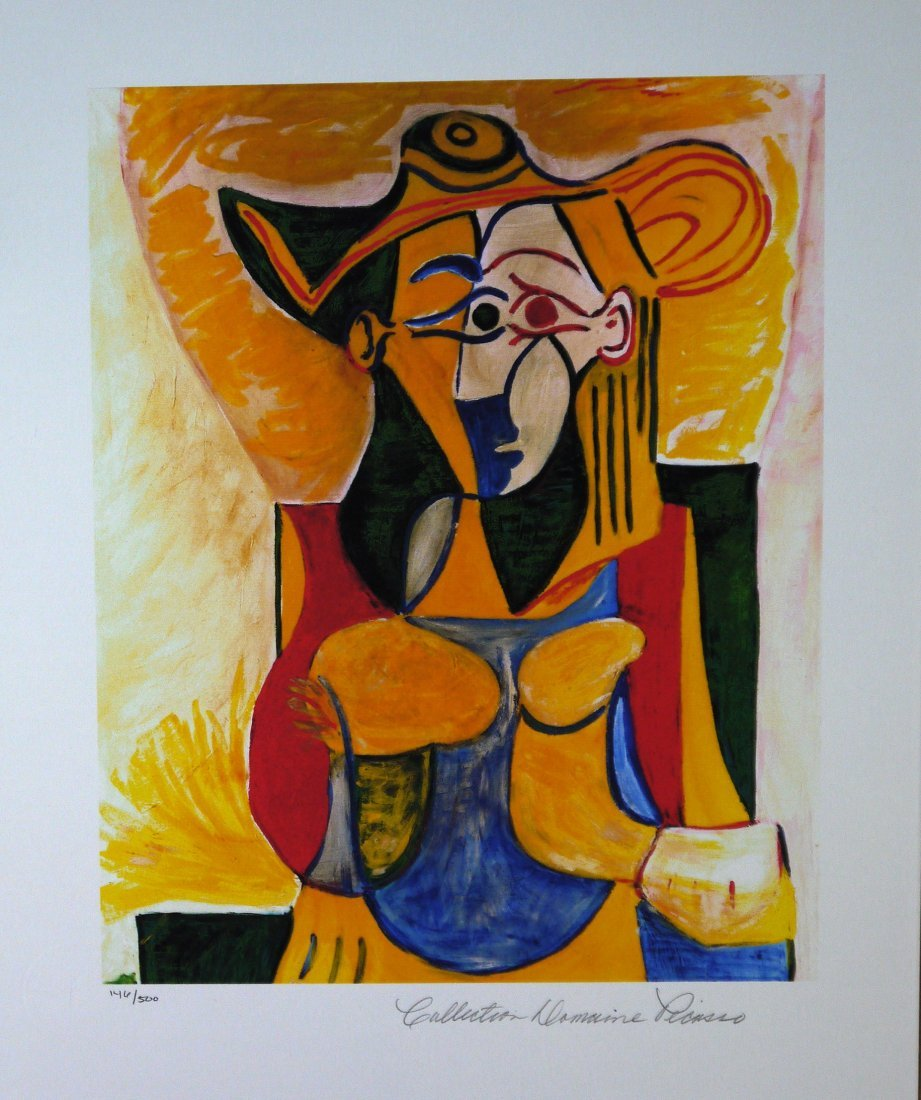 """Pablo Picasso """"Seated Woman With Hat"""" Giclee"""