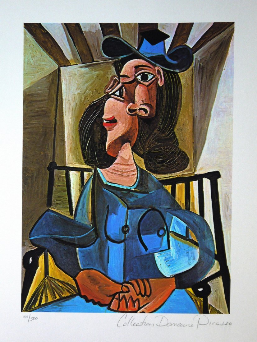 """Pablo Picasso """"Woman with Hat Seated in Armchair"""""""