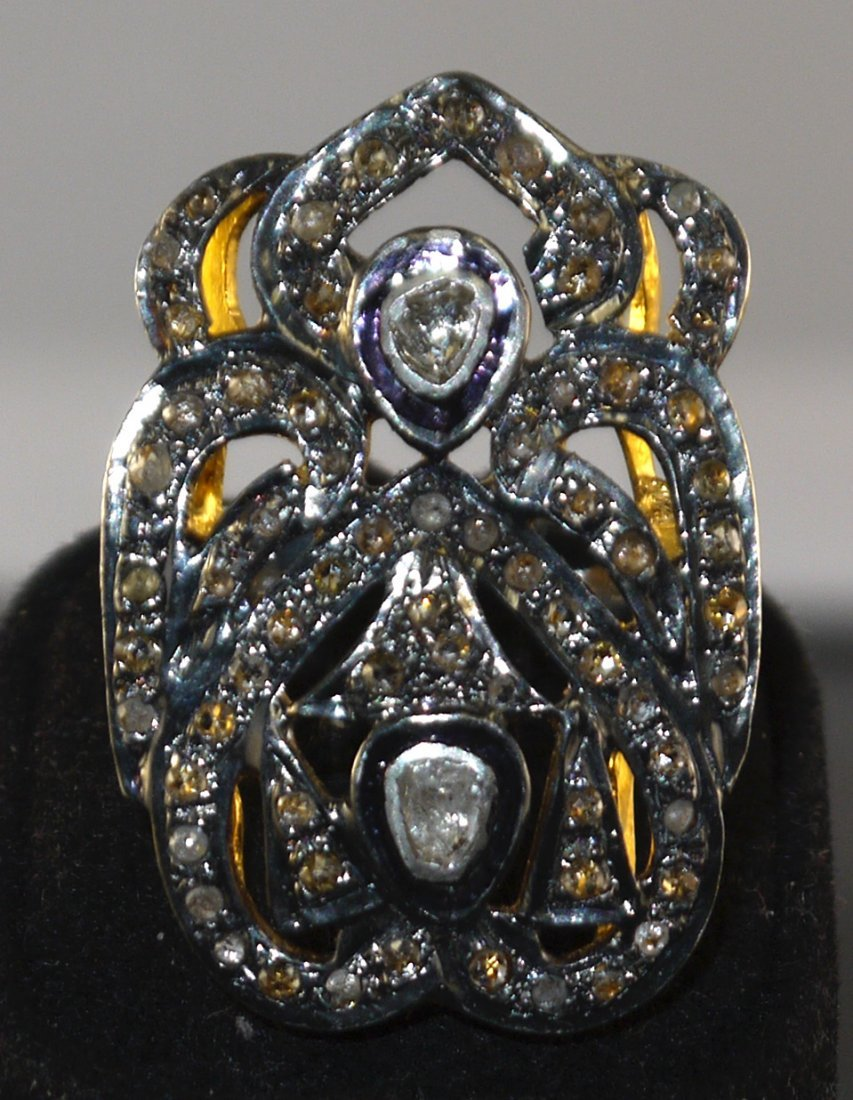 Silver & Gold with 0.45ct Diamond Ring