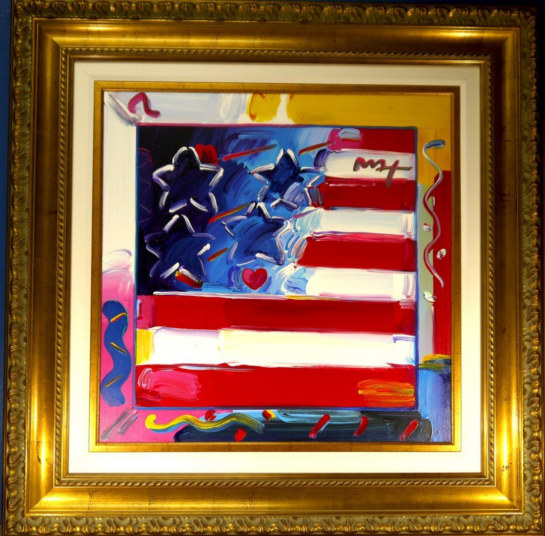 """Peter Max Original """"Flag with Heart"""" (FRAMED)"""
