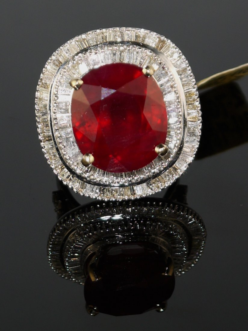 18KT White Gold 24.98ct Ruby 2.76ct Diamond Ring