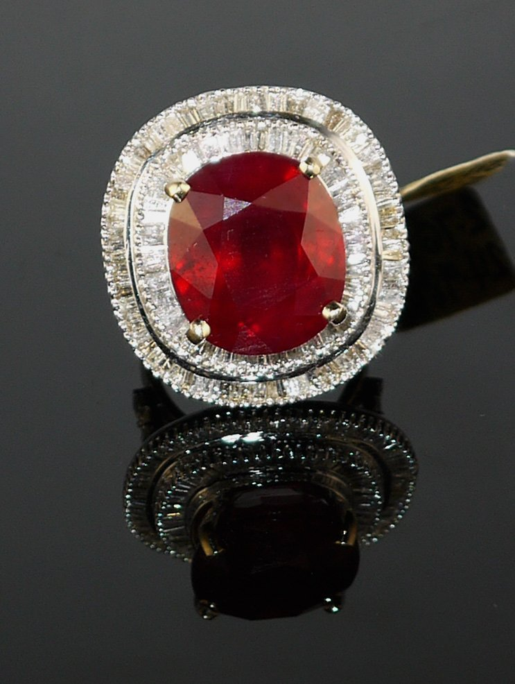 18KT White Gold 24.98ct Ruby 2.76ct Diamond Ring - 2