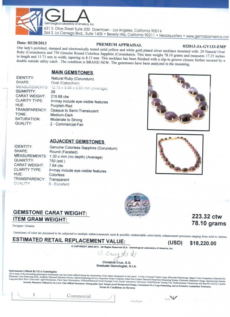 223.32ct Ruby & Sapphire Necklace - 5