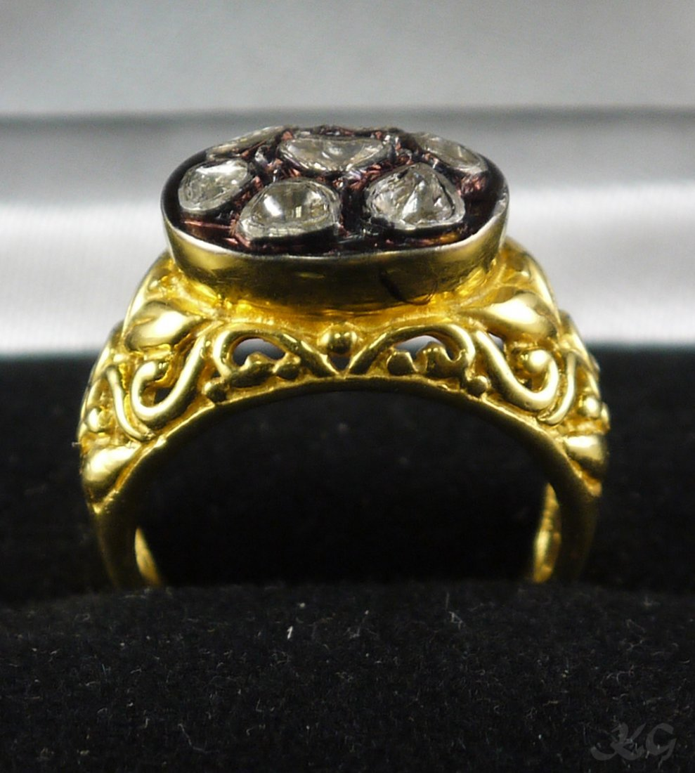 Silver & Gold 0.37ct Diamond Cluster Ring