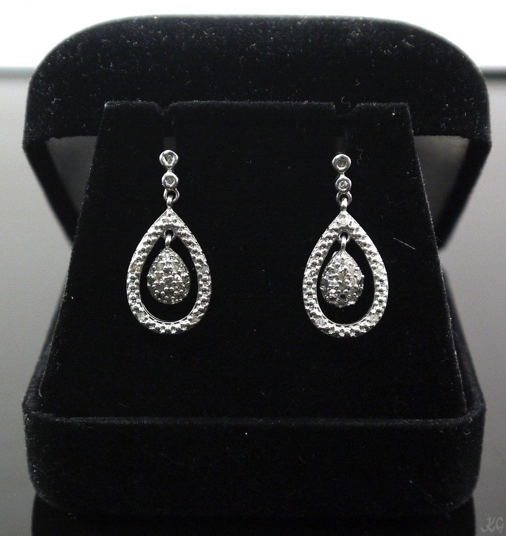 2.8gr Diamond Dangle Earrings 925 Sterling Silver