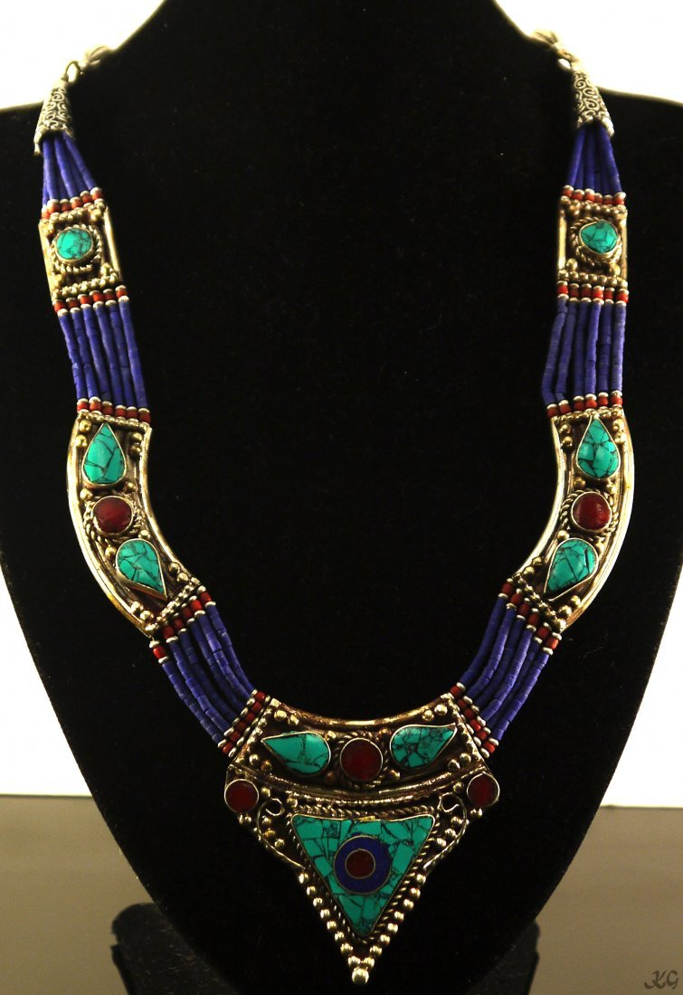 326ct Lapis Lazuli Turquoise and Coral Necklace
