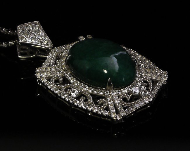 33.33 ctw Emerald and Colorless Sapphire Necklace