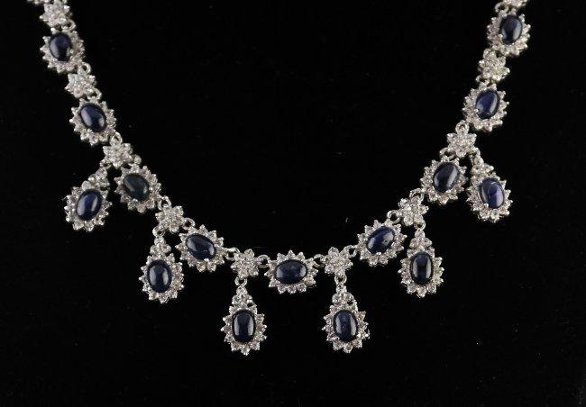49.55 ctw Blue & Colorless Sapphire Necklace
