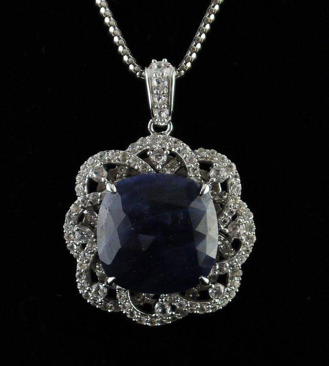 16.15ct Blue 2.09ctw White Sapphire Pendant