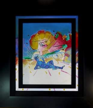"Peter Max ""Profile with Blue Figure"" Original"