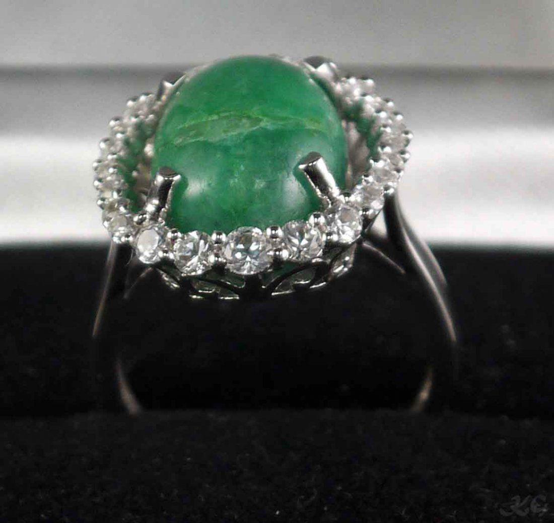 9.71ct Beryl 1.24ctw Sapphire 925 Silver Ring